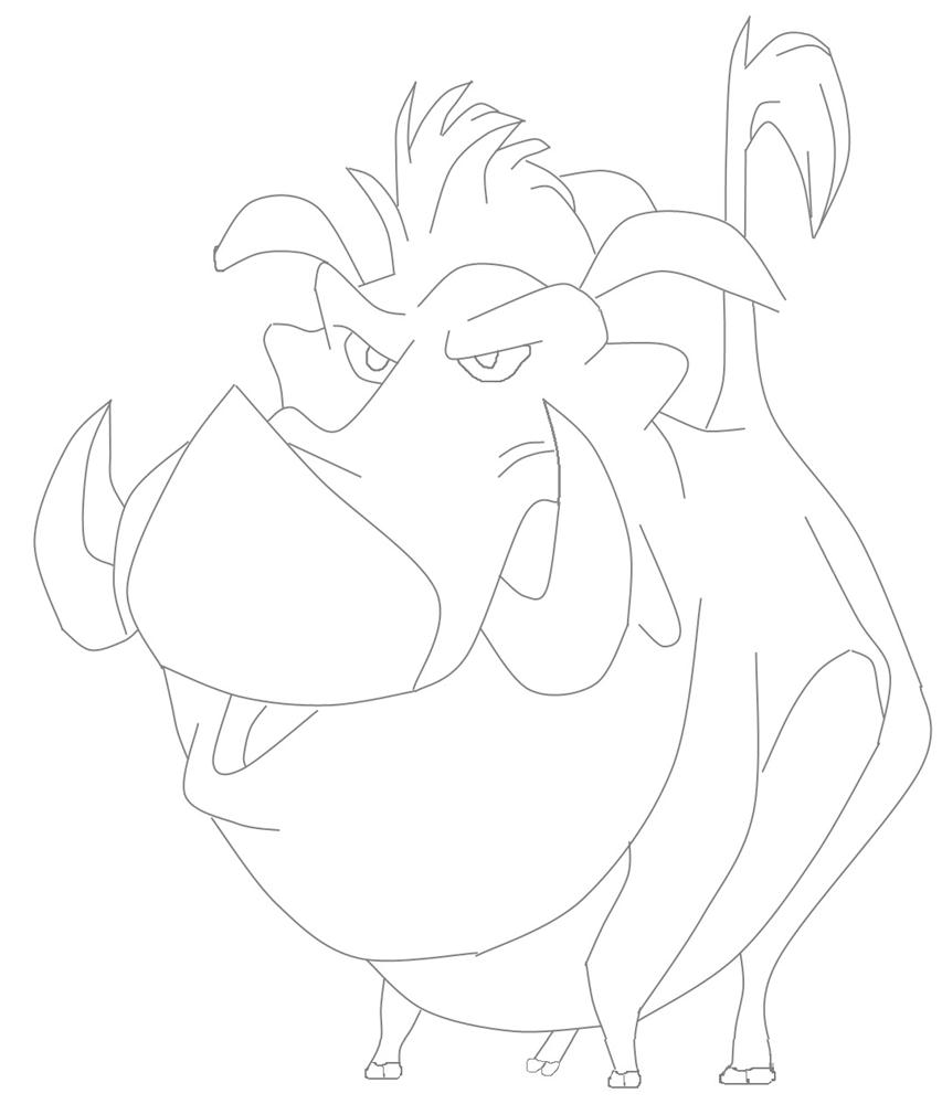 pumba lion king character coloring page