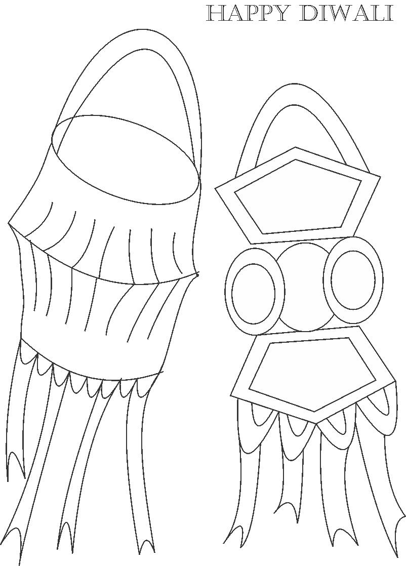 Decorative items of Diwali Coloring Page