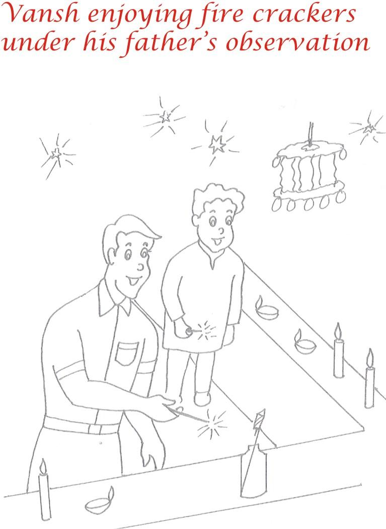 Fire crackers printable coloring page for kids 1