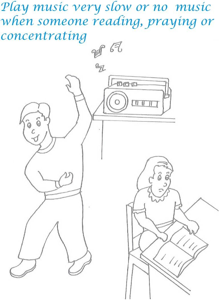 etiquette for kids in home coloring page 15