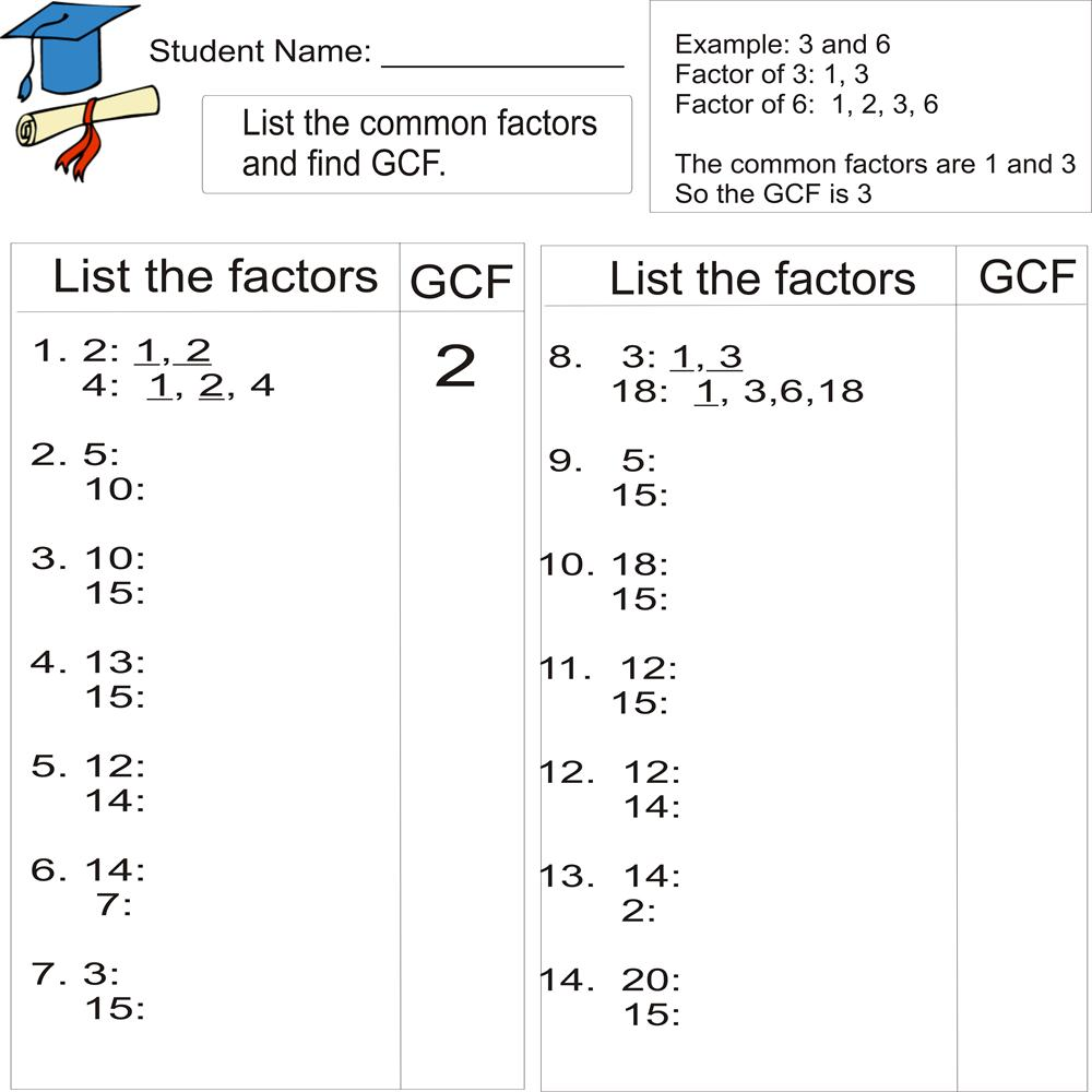 Greatest common factor 1to 20 – Greatest Common Factors Worksheet