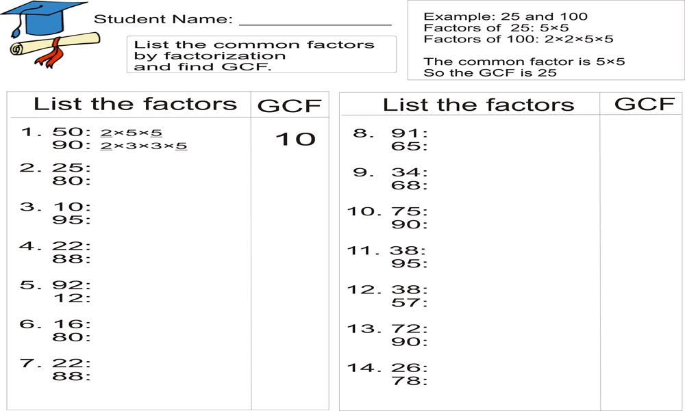 Printables Greatest Common Factor Worksheet greatest common factor worksheet davezan gcf davezan