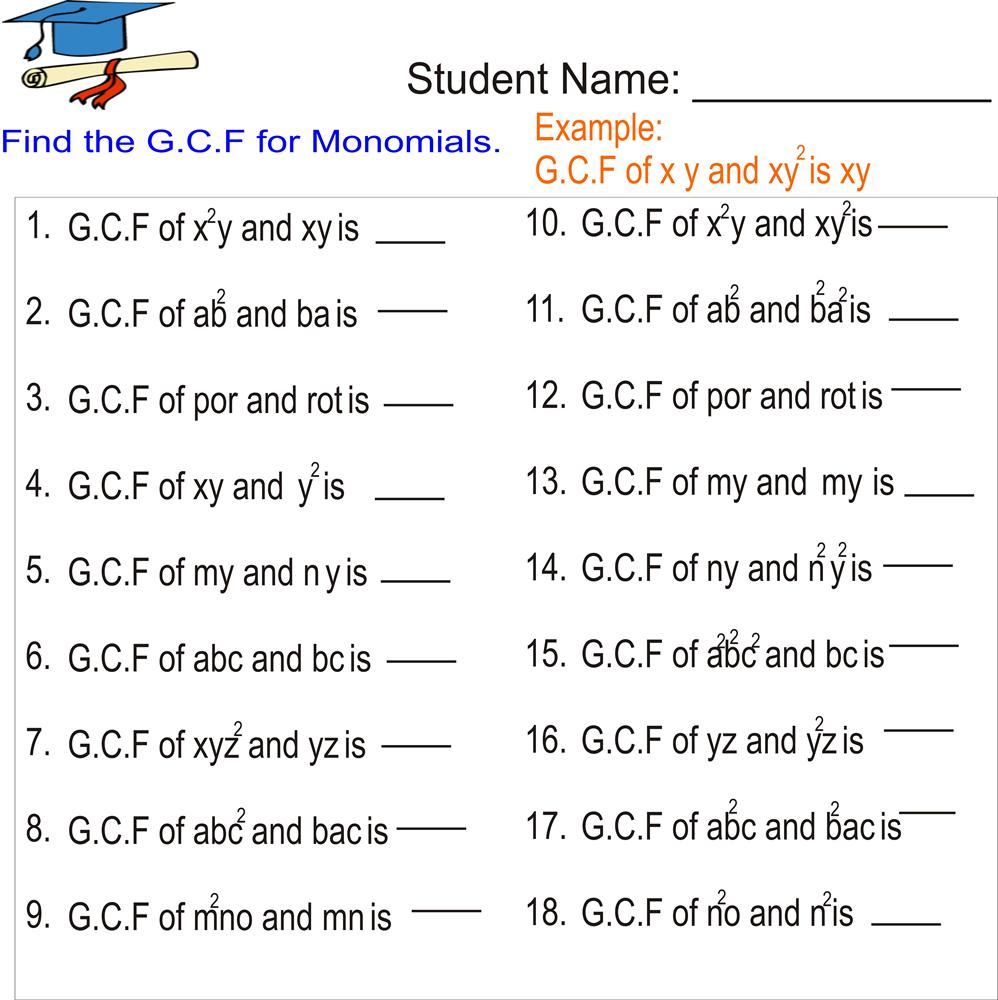 Greatest common factor Monomials – Greatest Common Factors Worksheet