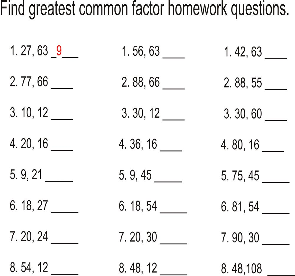 Greatest common factor Homework questions