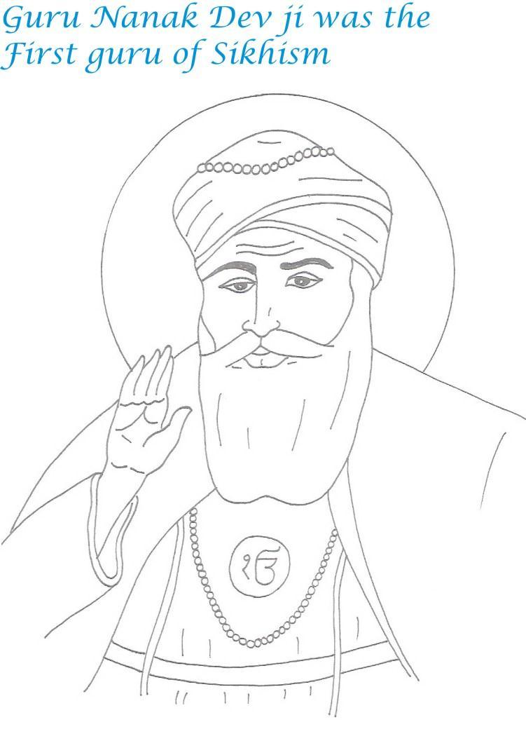 Guru Nanak birthday coloring page for kids 2