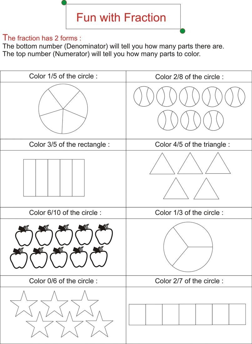 Worksheets Fun Fraction Worksheets fraction is fun page 1