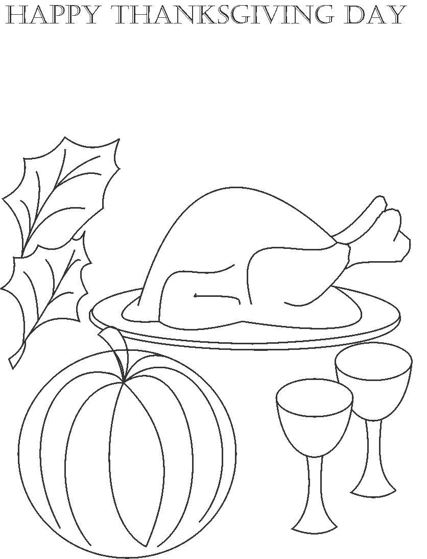Happy Thanksgiving day Coloring Printable Page