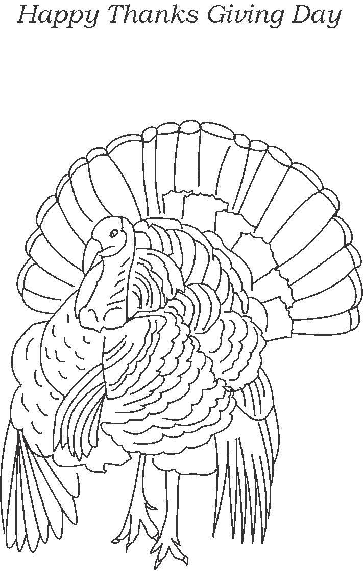 Turkey -Thanksgiving day coloring page