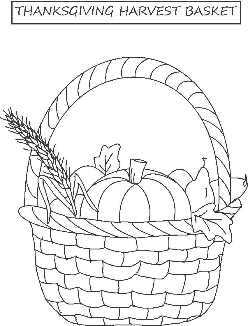 Harvest Basket Coloring Printable Download