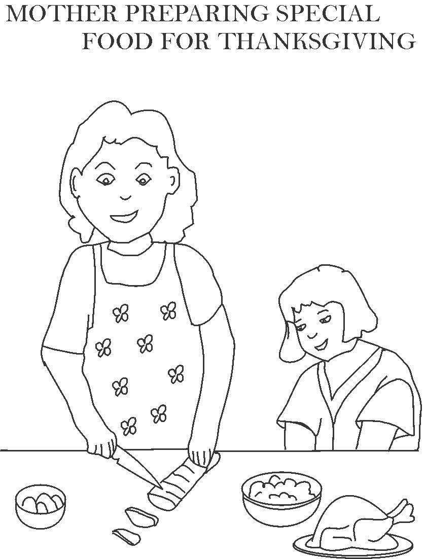 Mother preparing special food coloring page