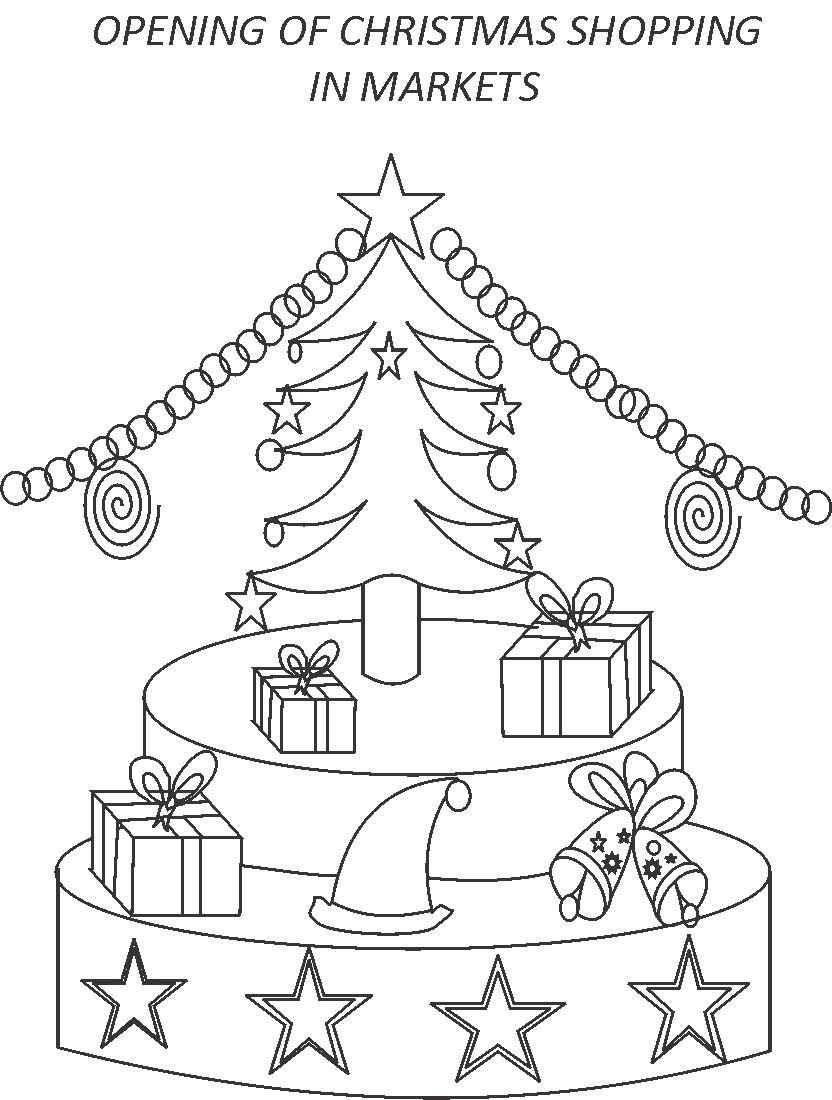 Opening of Christmas shopping coloring printable