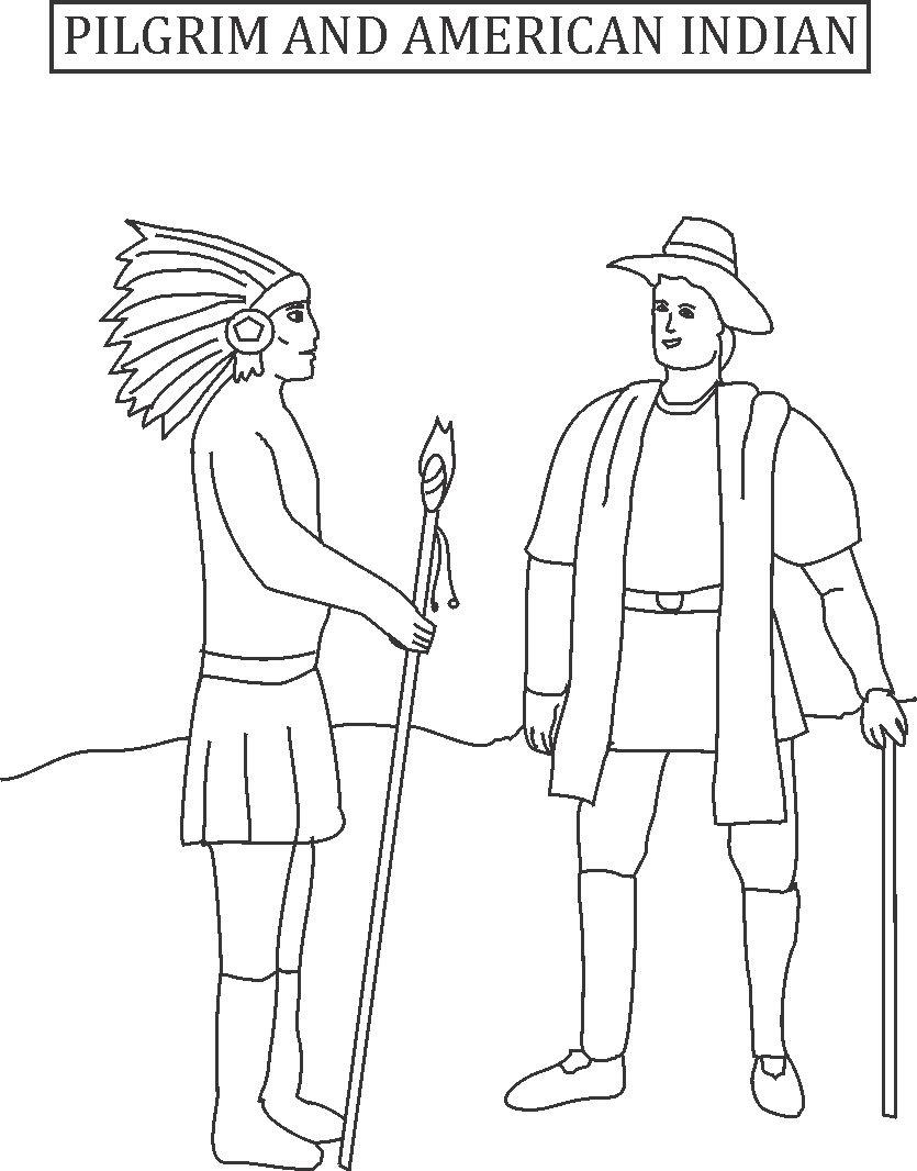 pilgrims and indians coloring pages - pilgrim and american indian printable coloring page