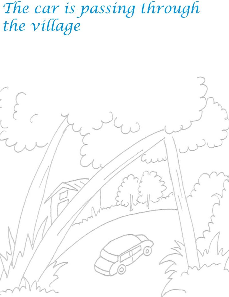 Falling tree scenery coloring page