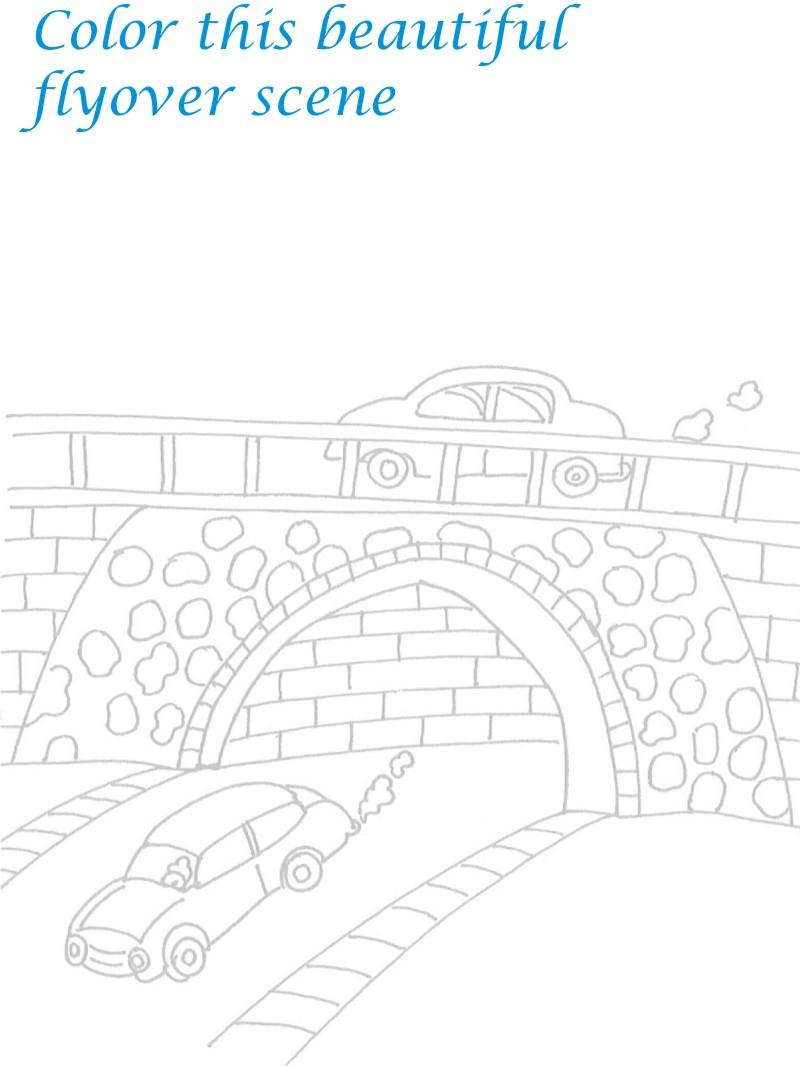 Vehicle pollution Scenery coloring printable
