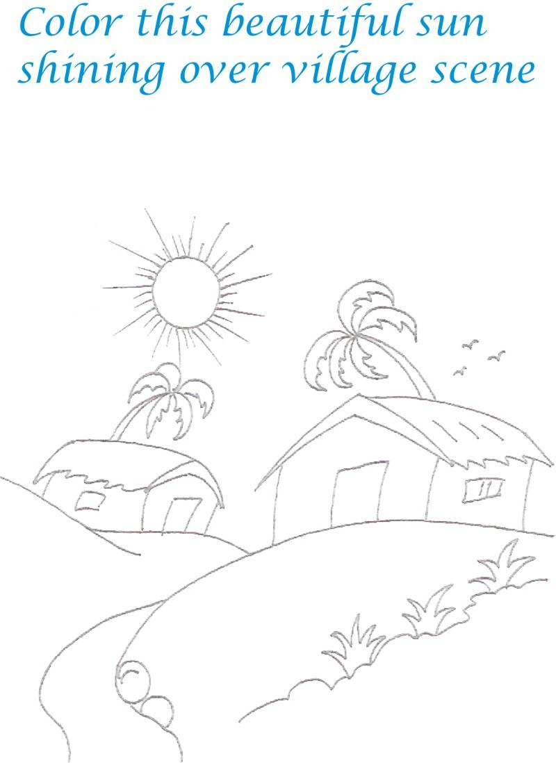 Village scenery coloring printable
