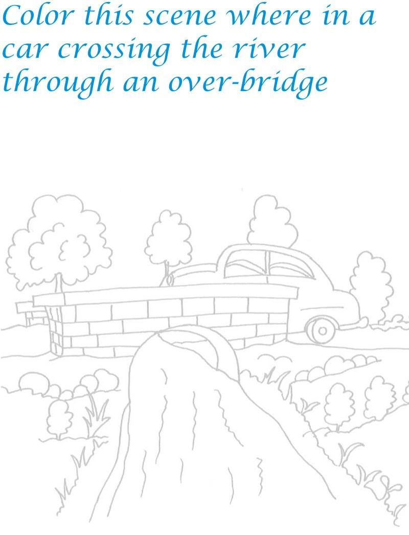 bridge scenery coloring printable page