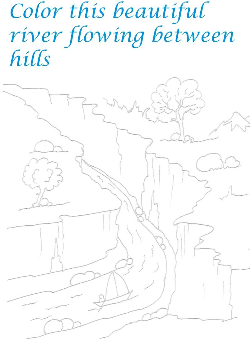River in the hills coloring printable page for kids for River coloring pages