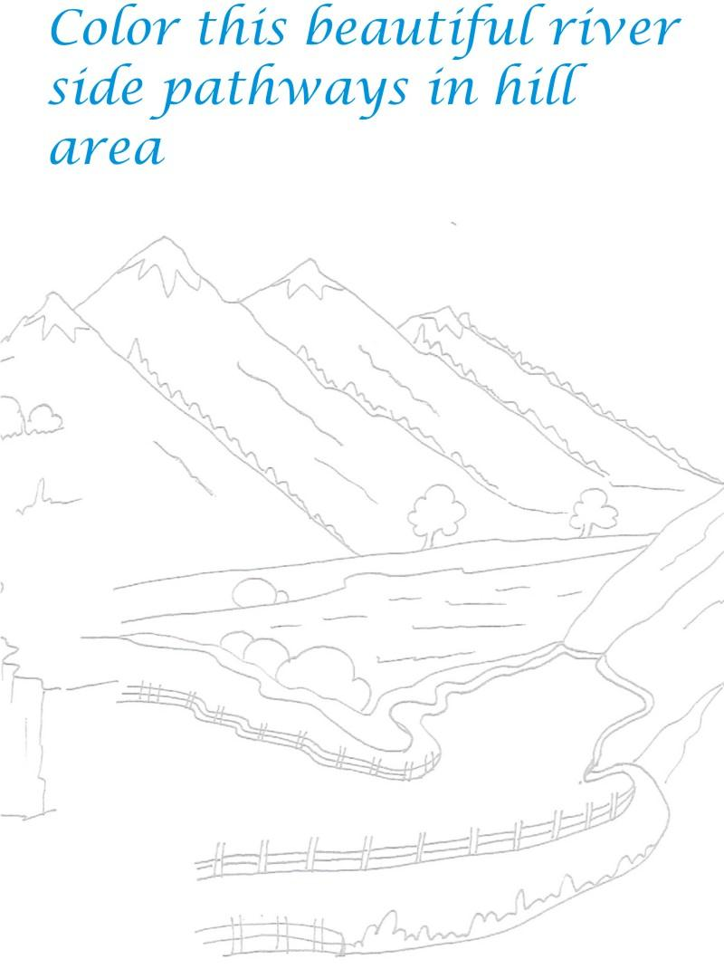 Hill Station Scenery Coloring Printable Page