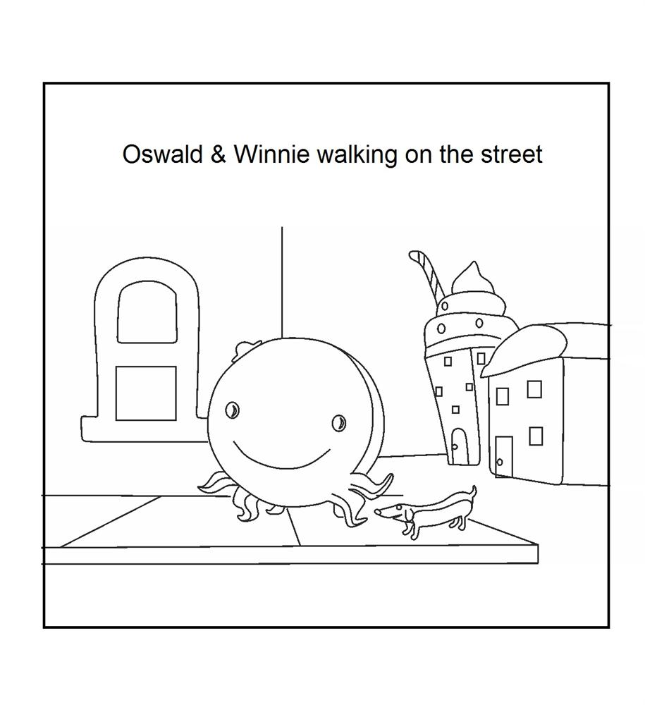 Oswald And Winnie Walking On The Street Coloring Printable Oswald Coloring Pages