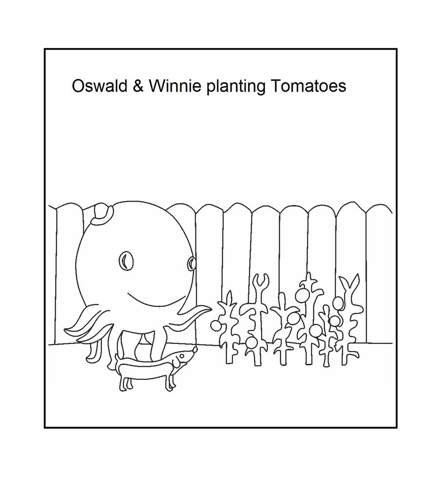 Oswald and Winnie with the Tamato plants coloring printable