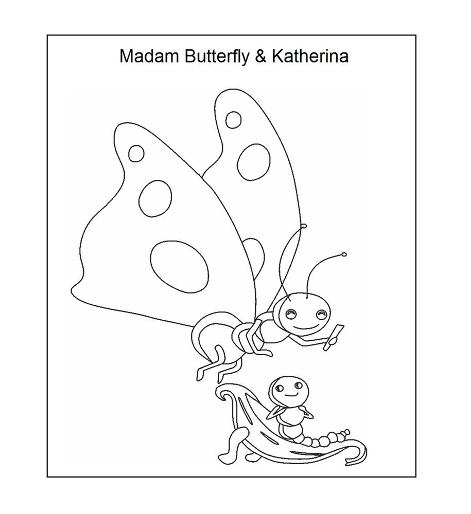 Madame Butterfly and Katerina Coloring Printable Page