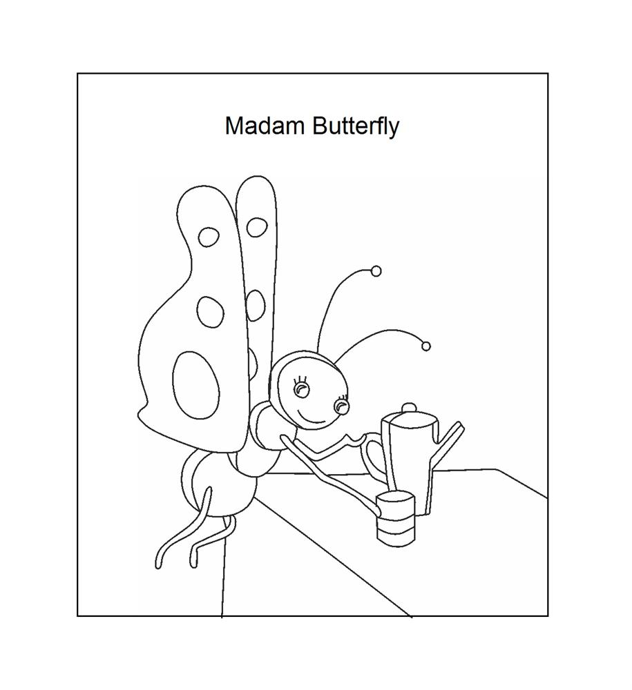 madame butterfly coloring printable page