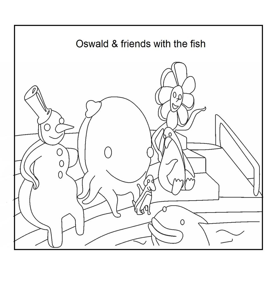 Oswald And Friend With The Fish Coloring Download Page Oswald Coloring Pages