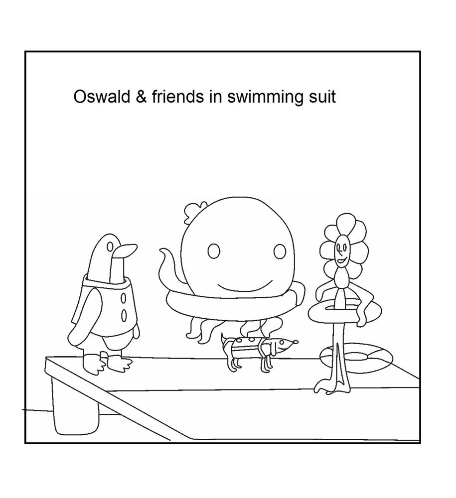 Oswald and friend in swimming suit coloring printable page