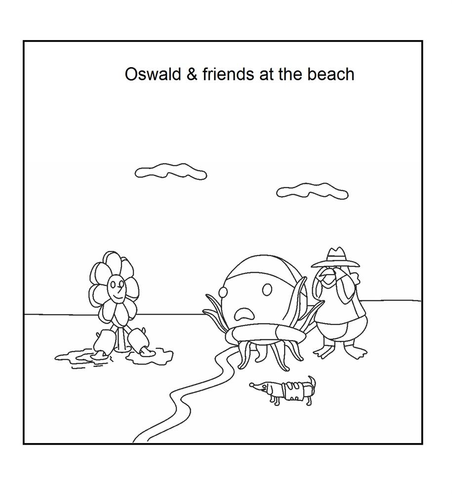 Oswald and friend at the beach coloring page download