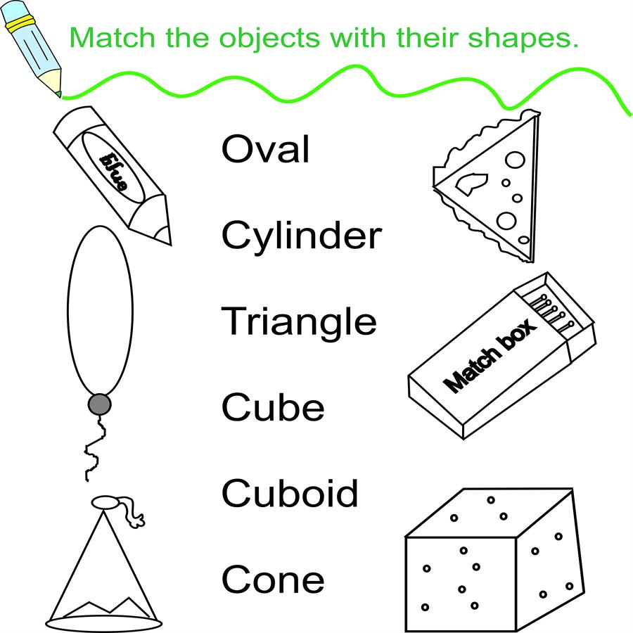 worksheet Matching Shapes To Objects Worksheets match objects and shapes