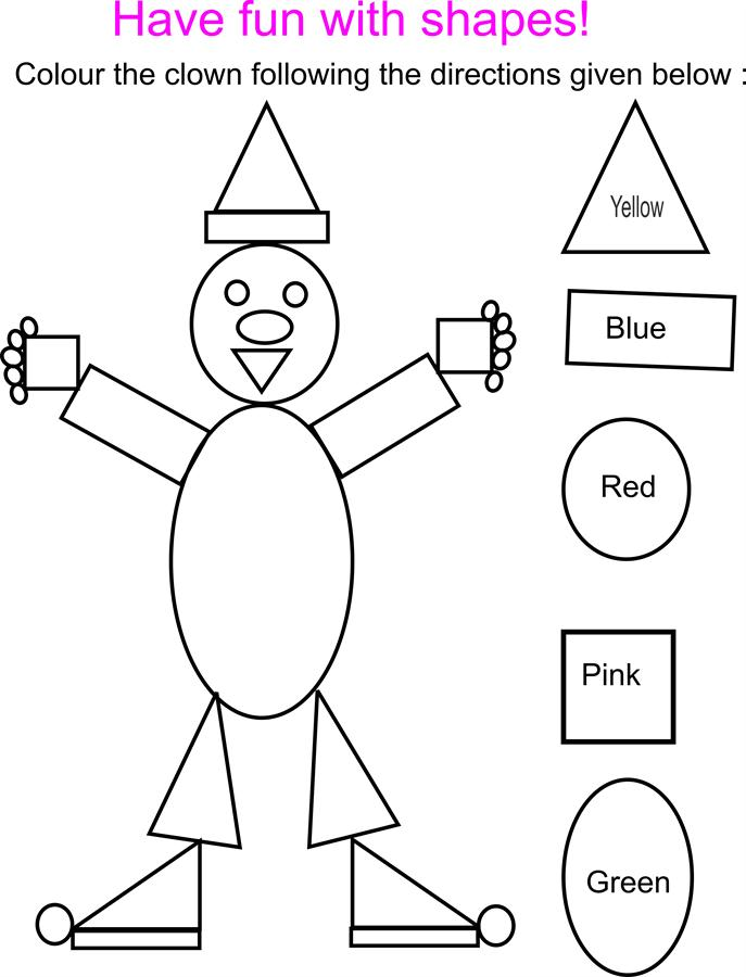 Shapes coloring pages with clowns