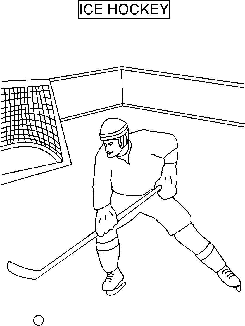 Ice hockey coloring printable page for kids for Ice hockey coloring pages