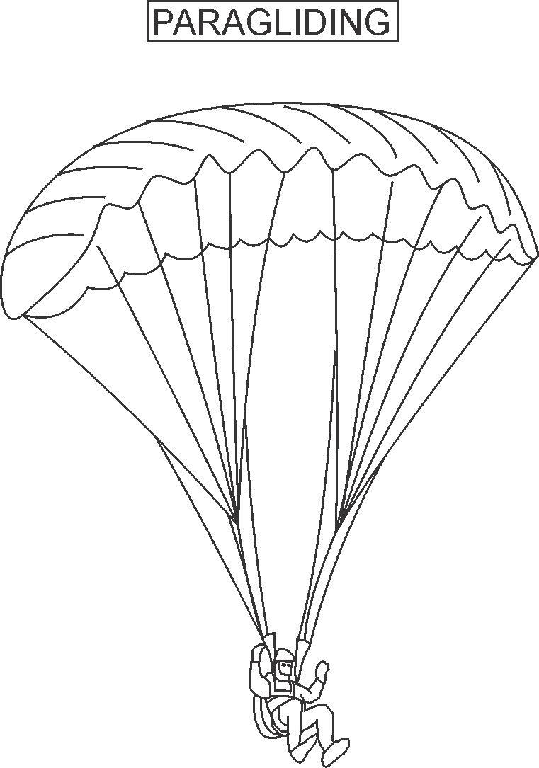 Paragliding coloring printable page for kids - Parapente dessin ...