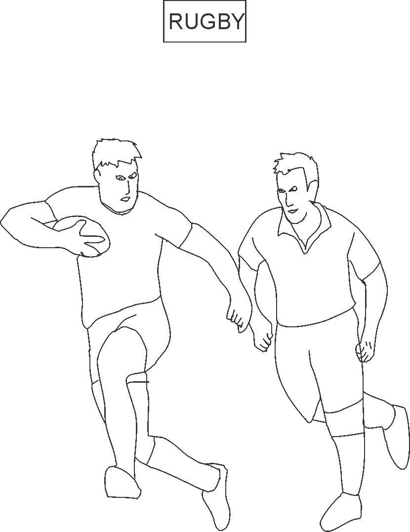 Rugby coloring printable page for kids