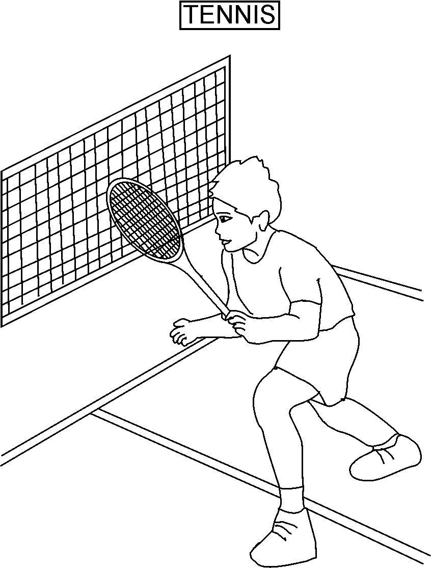 Tennis coloring printable page for kids