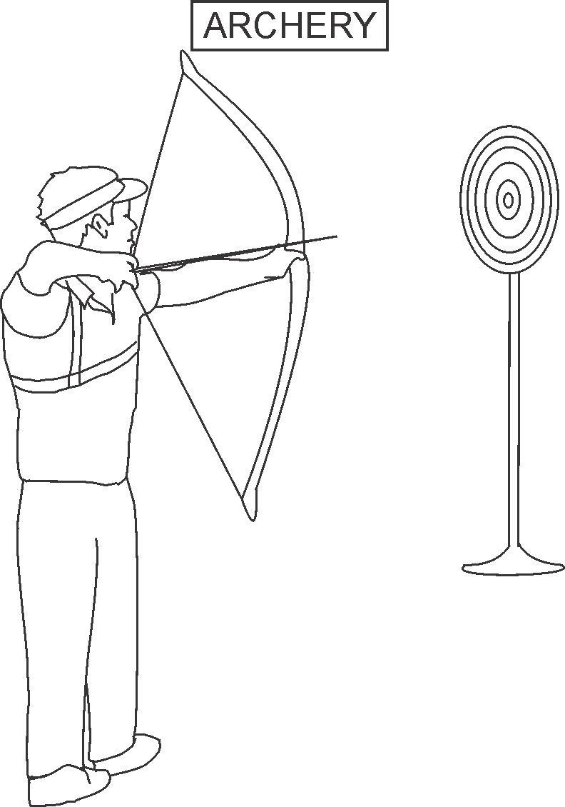 Archery coloring printable page