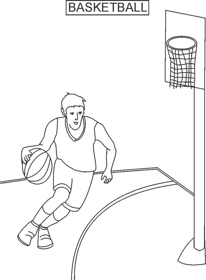 Basketball Coloring Pages Pdf : Basket ball coloring printable page for kids