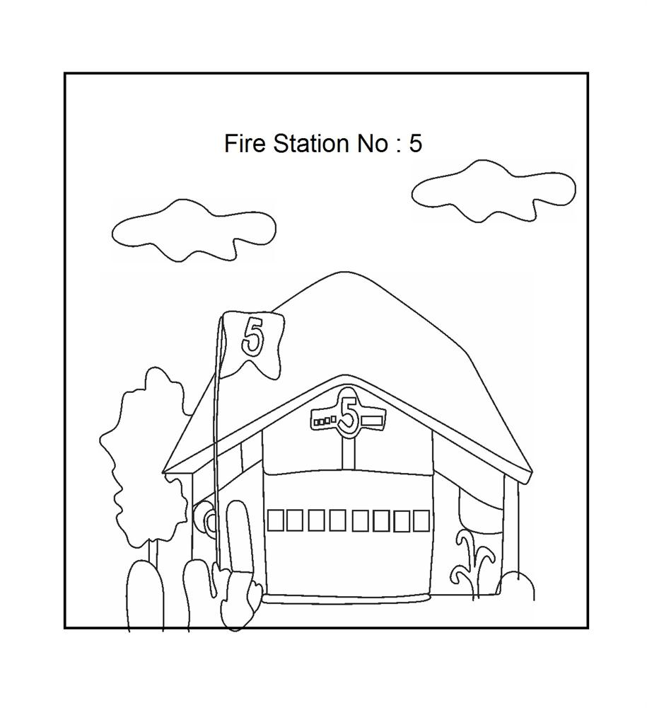 Fire station coloring printable page for kids for Fire station coloring page