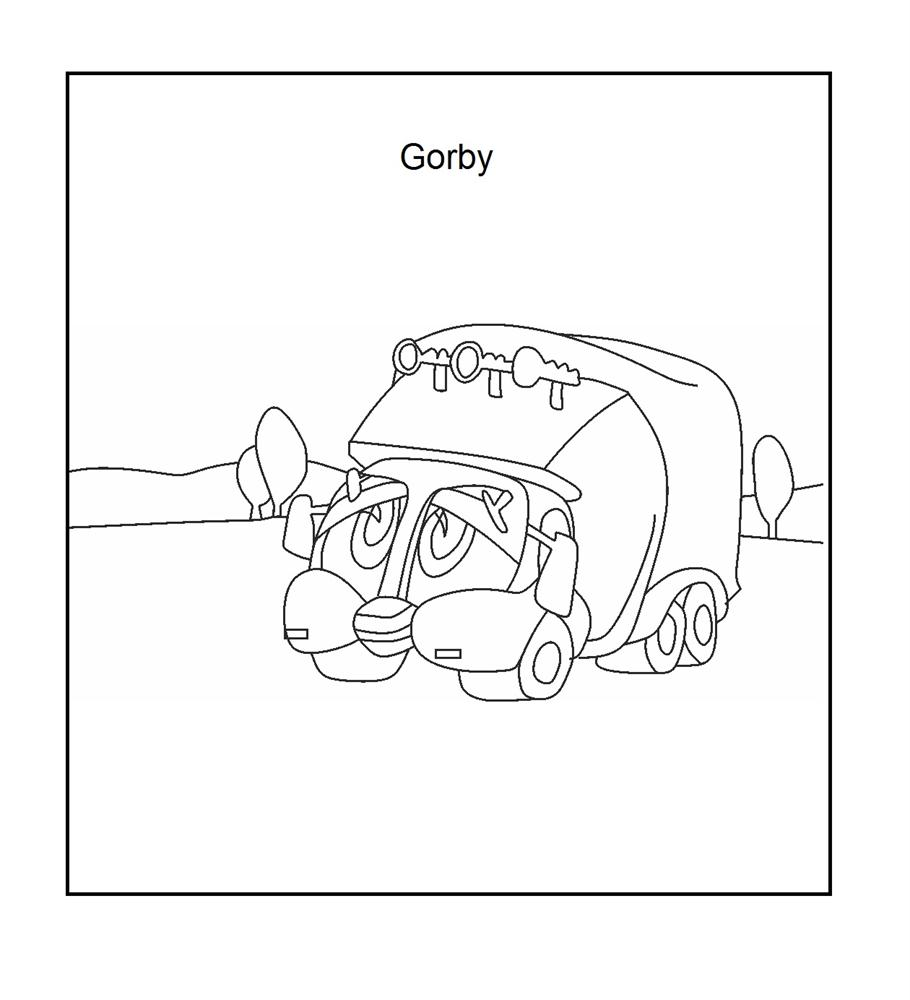 Gorby Garbage Truck coloring page for kids
