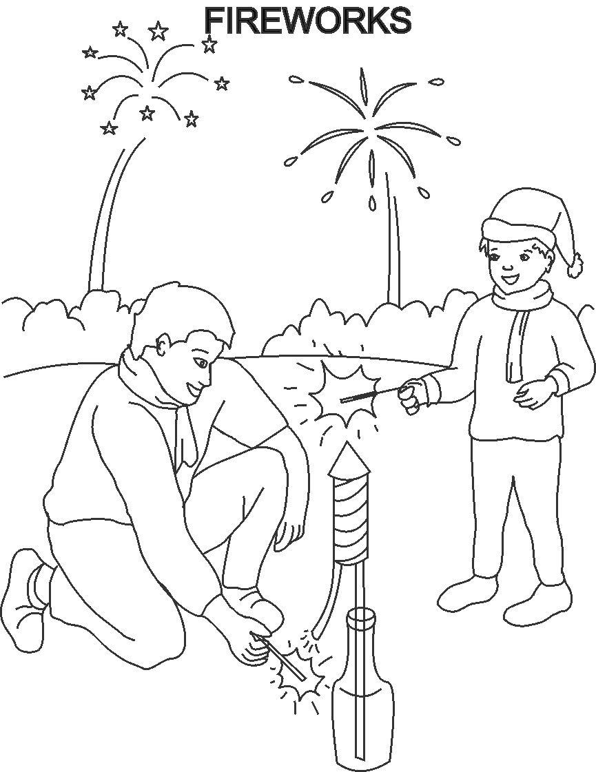 Fireworks Coloring Pages Printable Happy New Year Coloring Pages For Kids
