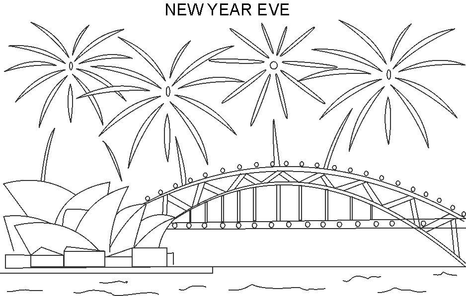 Printable New Year Eve Coloring Page