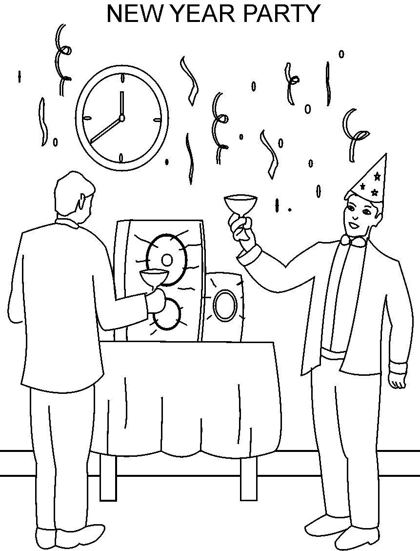 new year party printable coloring page