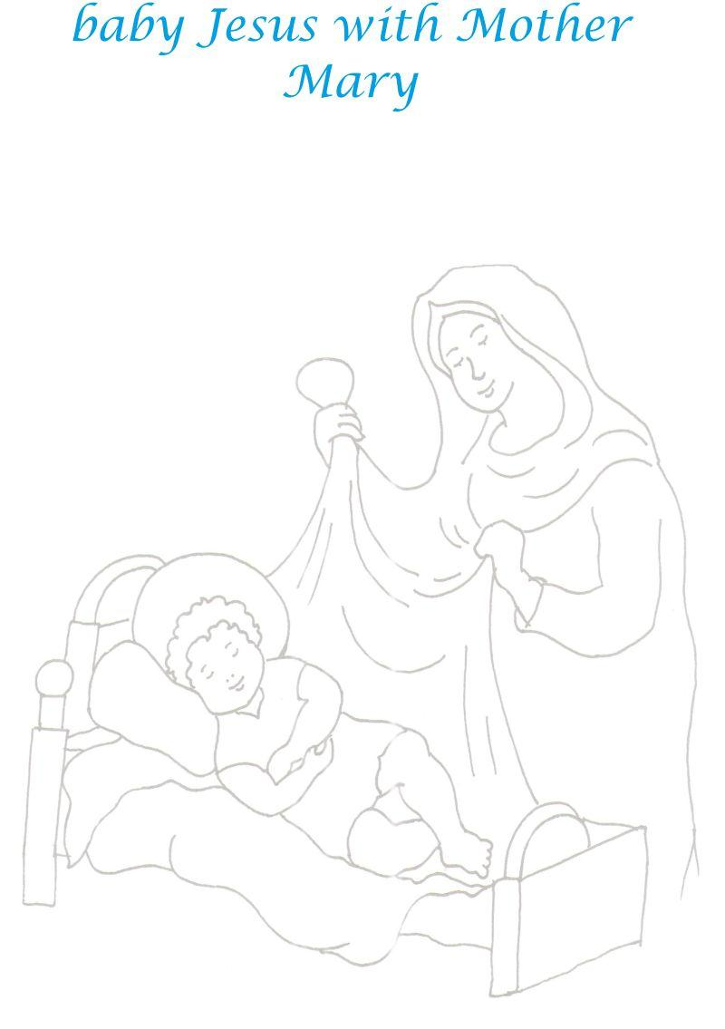 Jesus & Mother Mary printable coloring page