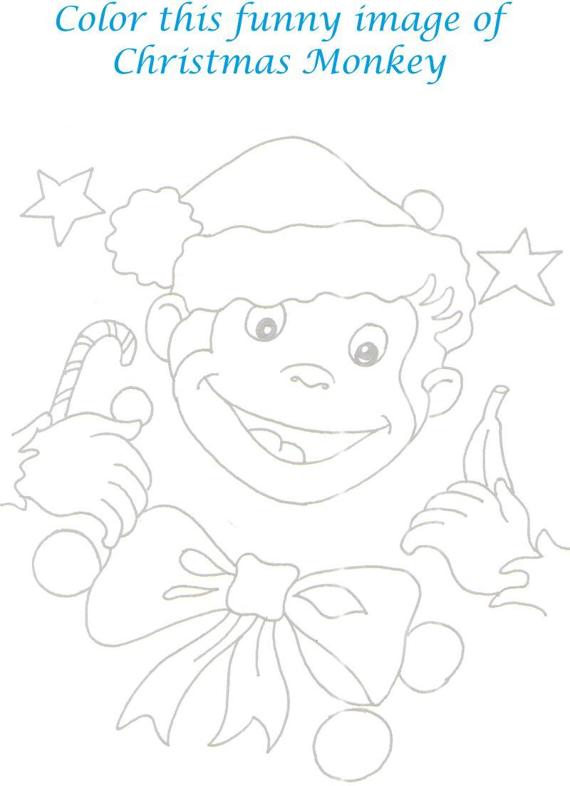 monkey christmas coloring pages - photo#5