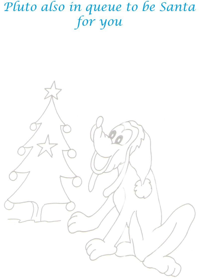 Pluto as Santa coloring printable page for kids