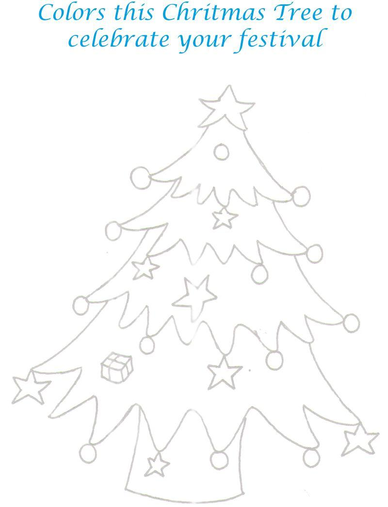 Christmas Tree printable coloring page for kids