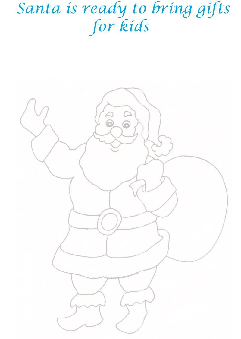 Santa with Gifts Bag coloring printable page