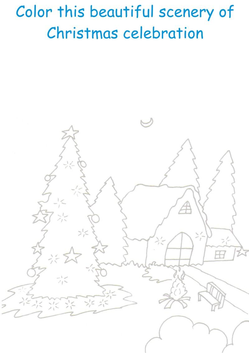 Christmas Scenery printable coloring worksheet