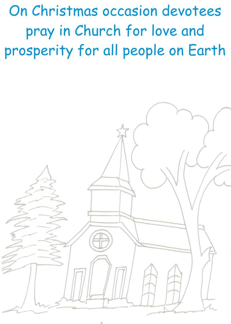 Decorated Church coloring printable worksheet