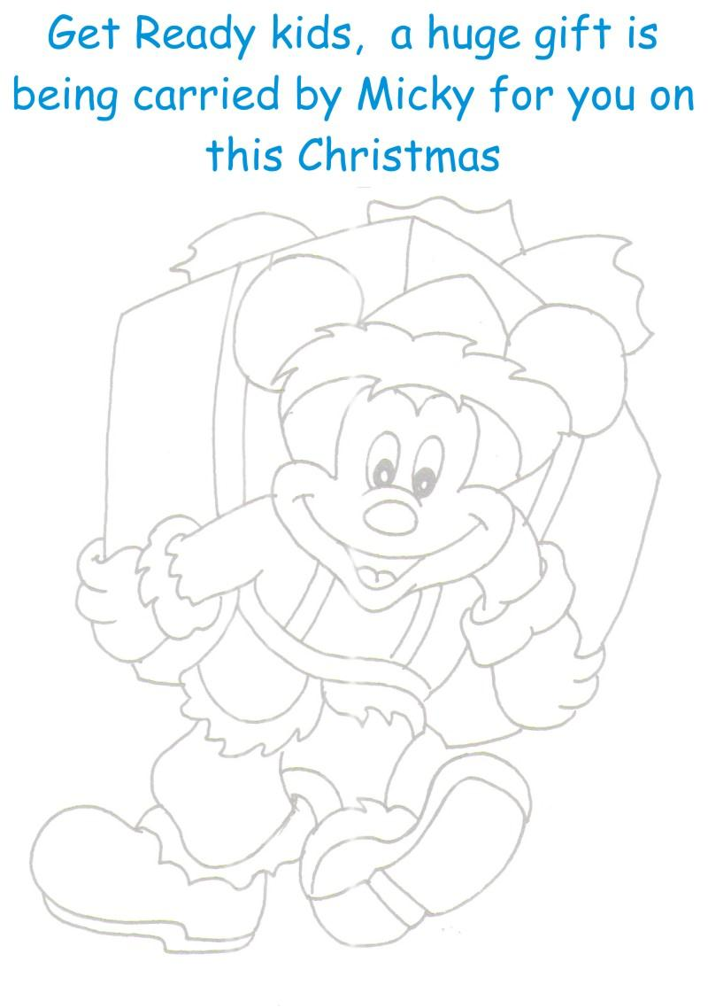 Micky with huge gift coloring printable page